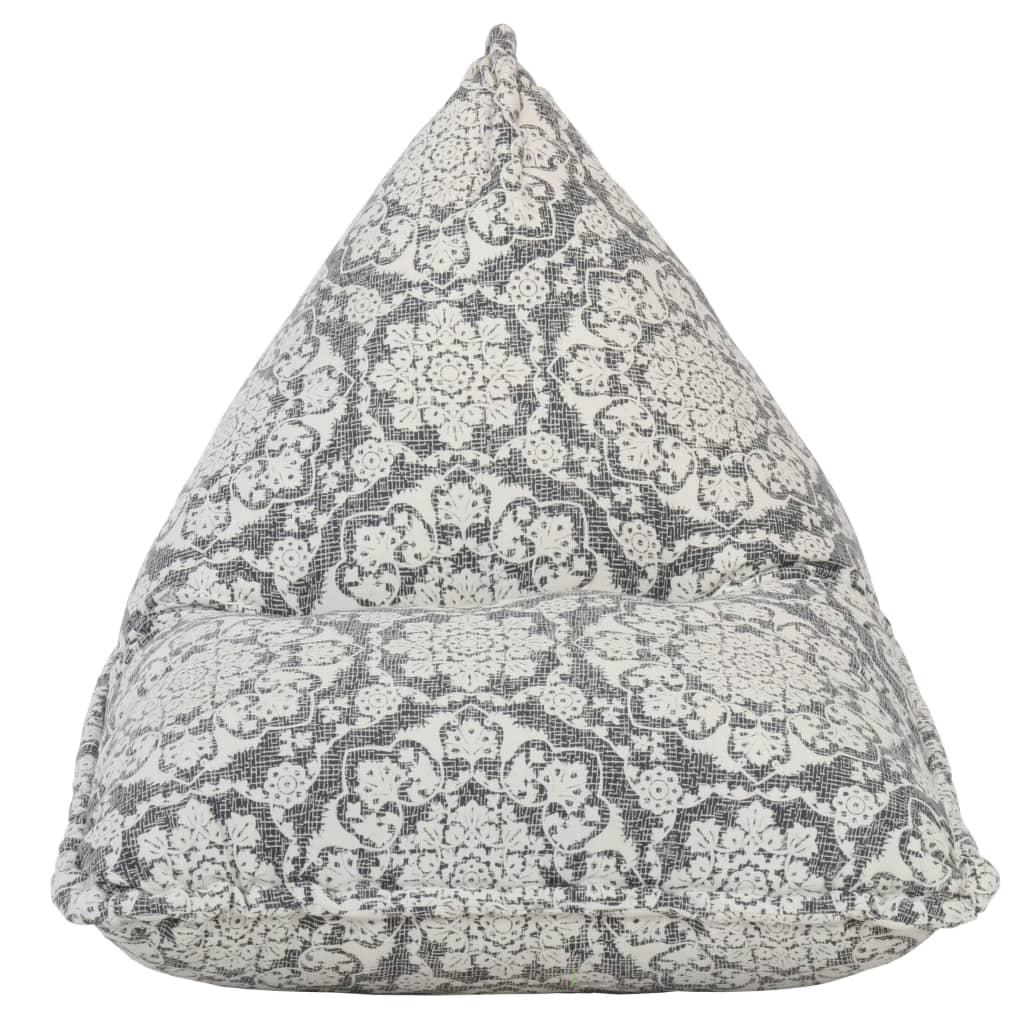 Sittpuff ljusgrå tyg lapptäcke