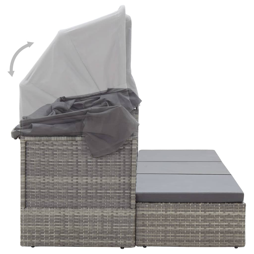 Solsäng med tak grå 200x60x124 cm konstrotting