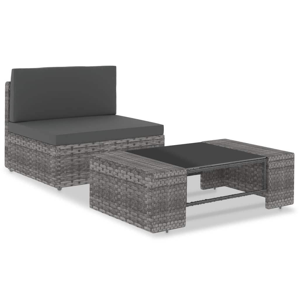 Loungegrupp för trädgården 2 delar konstrotting grå