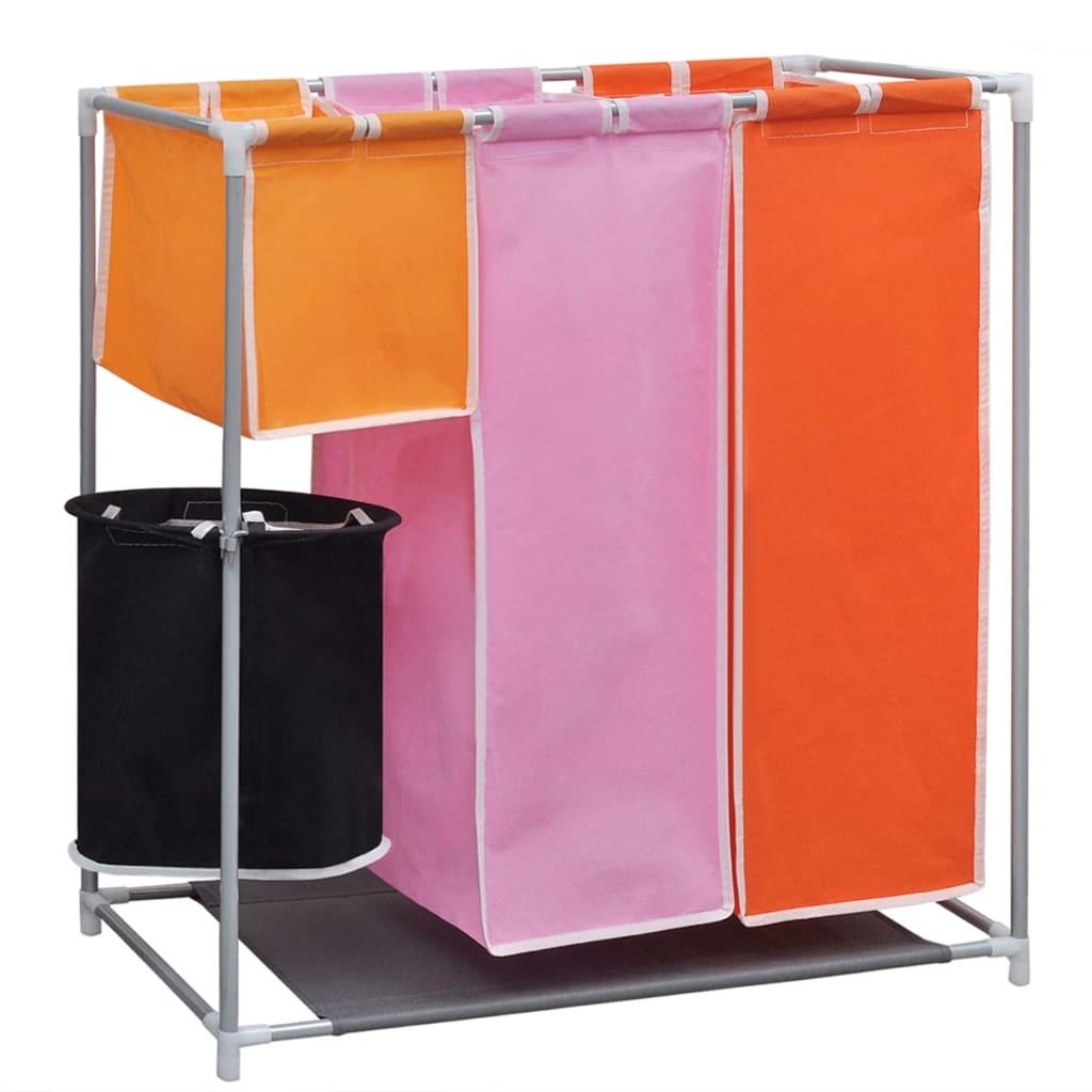 Tvättsorterare 3 sektioner 2 st med en tvättkorg