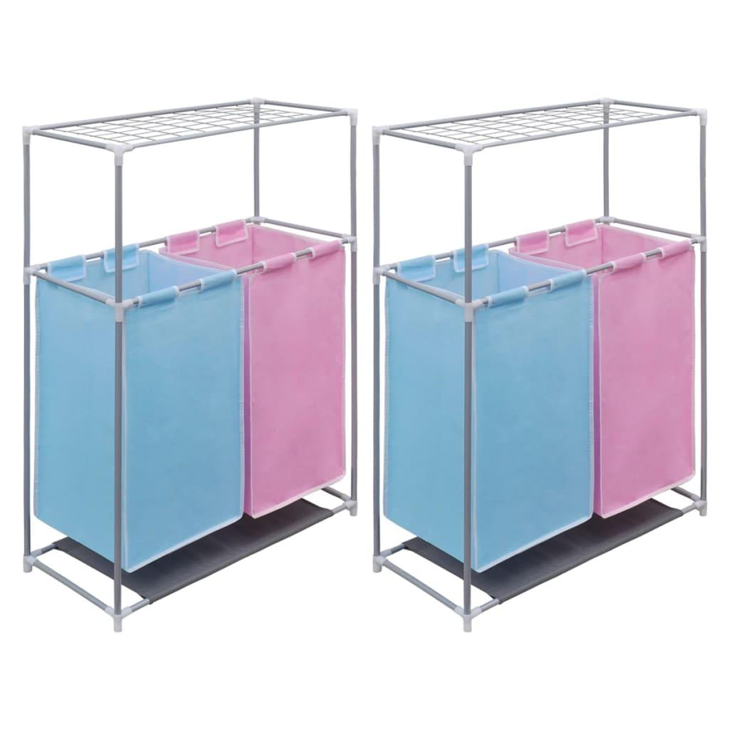 Tvättsorterare 2 sektioner 2 st med torkhylla