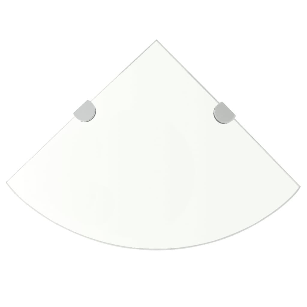 Hörnhyllor 2 st kromade hyllkonsoler glas genomskinlig 35x35 cm