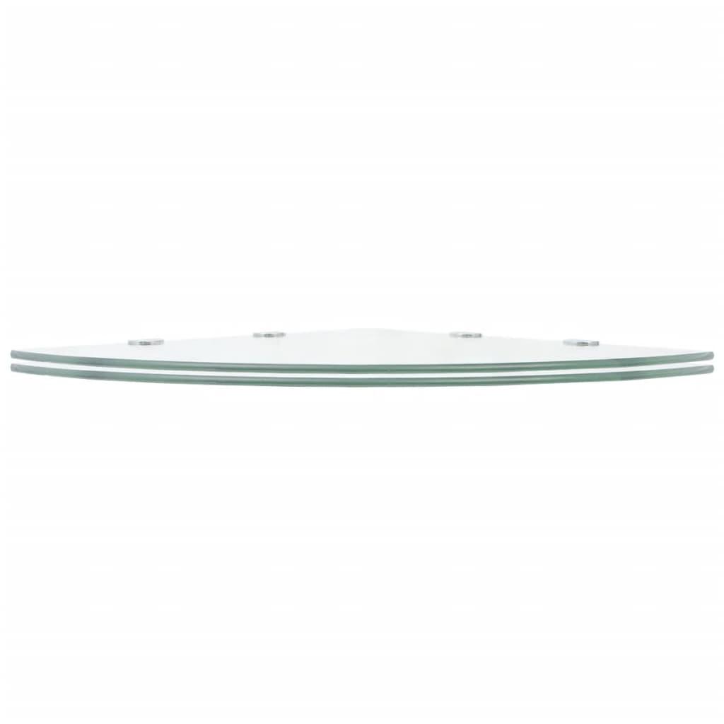 Hörnhyllor 2 st kromade hyllkonsoler glas genomskinlig 45x45 cm