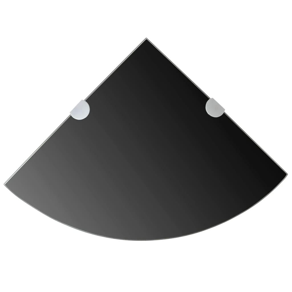 Hörnhyllor 2 st kromade hyllkonsoler glas svart 25x25 cm