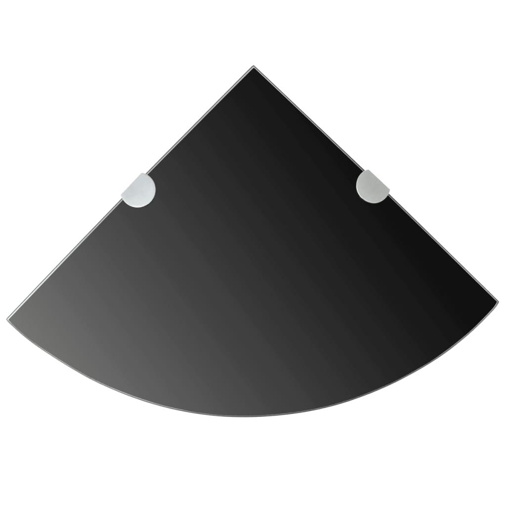 Hörnhyllor 2 st kromade hyllkonsoler glas svart 35x35 cm