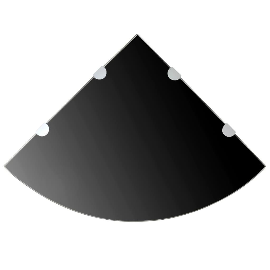 Hörnhyllor 2 st kromade hyllkonsoler glas svart 45x45 cm