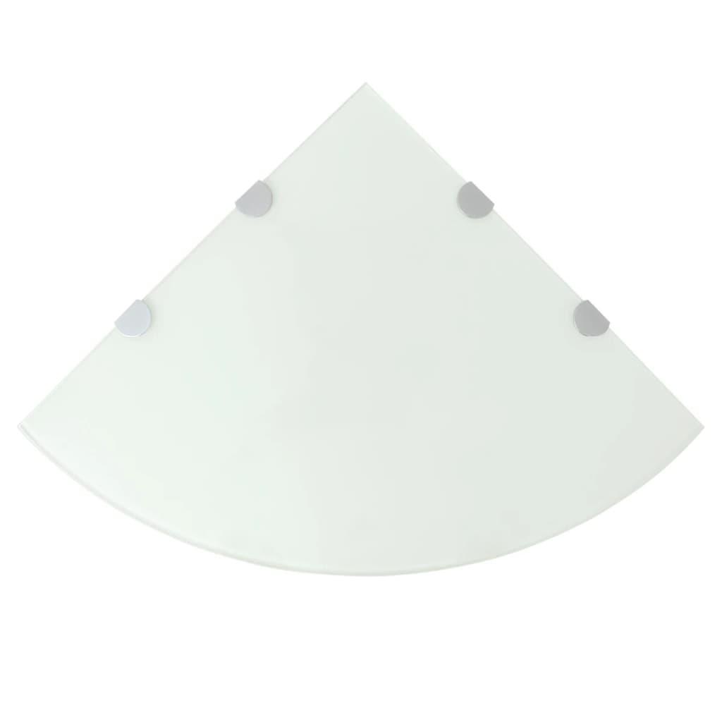 Hörnhyllor 2 st kromade hyllkonsoler glas vit 45x45 cm