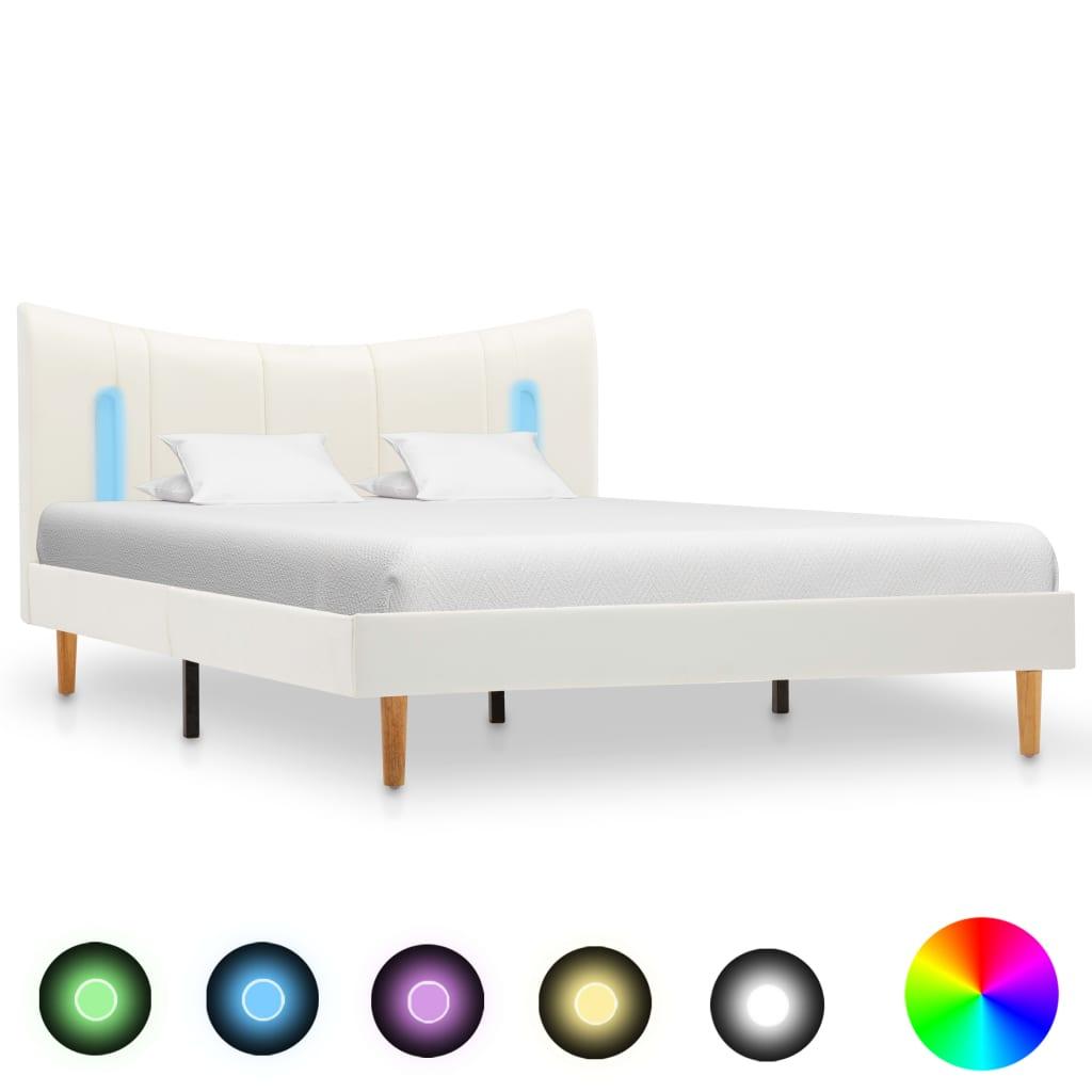 Sängram med LED vit konstläder 120x200 cm