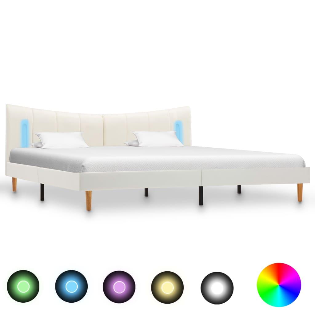 Sängram med LED vit konstläder 160x200 cm