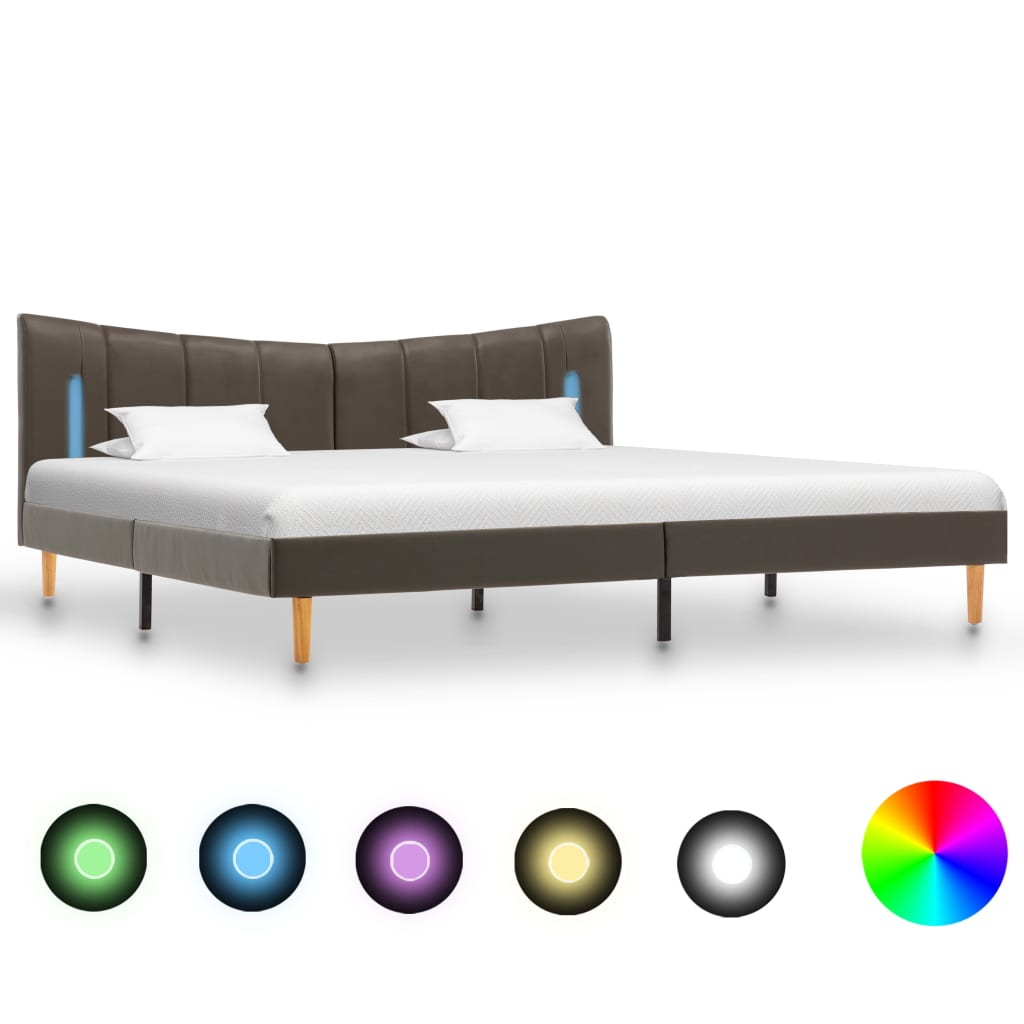 Sängram med LED antracit konstläder 160x200 cm