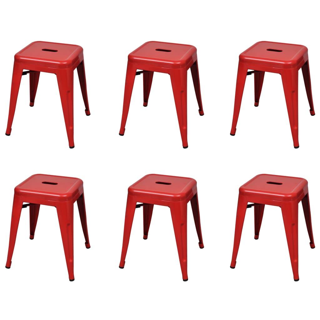 Stapelbara pallar 6 st röd stål
