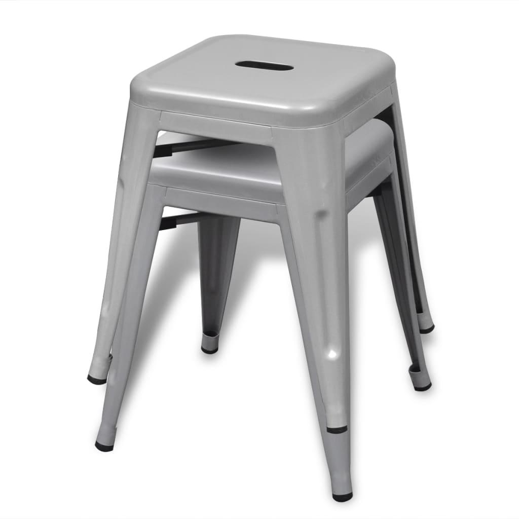 Stapelbara pallar 4 st grå stål