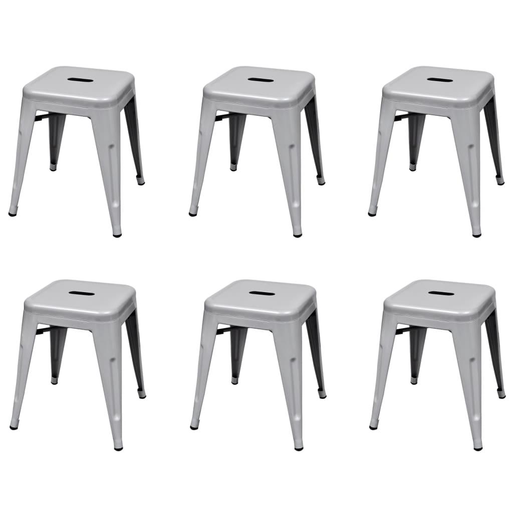 Stapelbara pallar 6 st grå stål