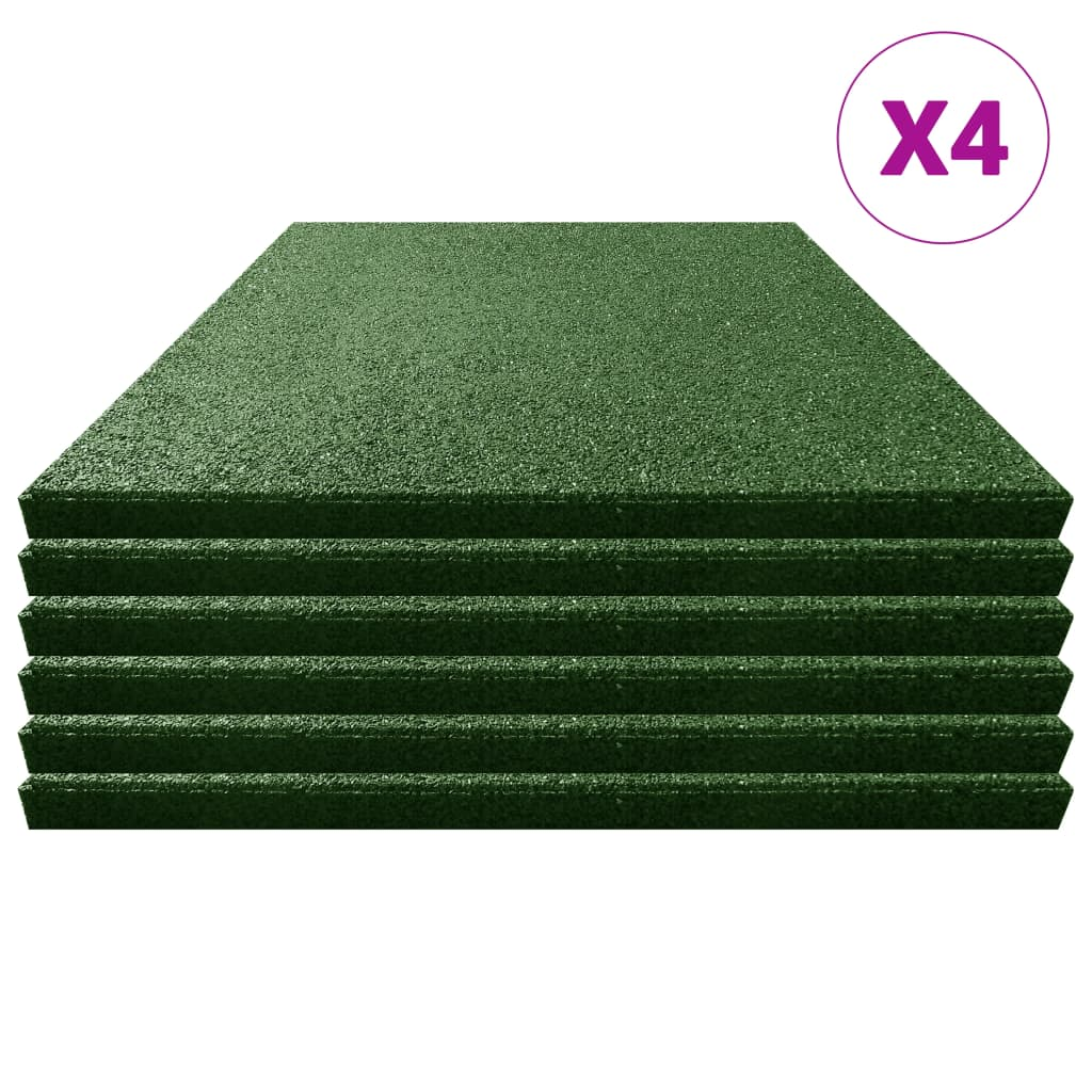 Fallskyddsmattor 24 st gummi 50x50x3 cm grön