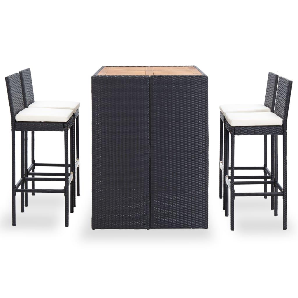 Barmöbler för trädgård 5 delar konstrotting akaciaträ svart