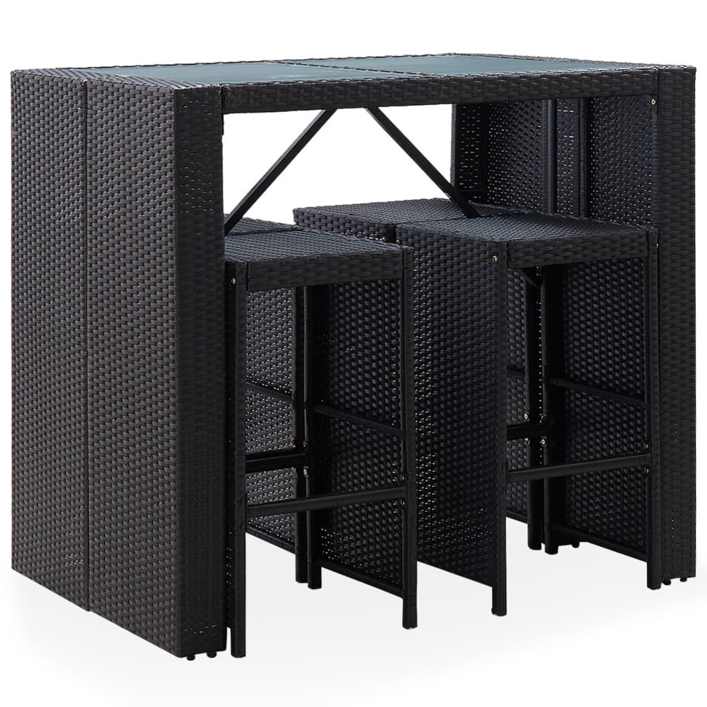 Barmöbler för trädgård 5 delar konstrotting & glas svart