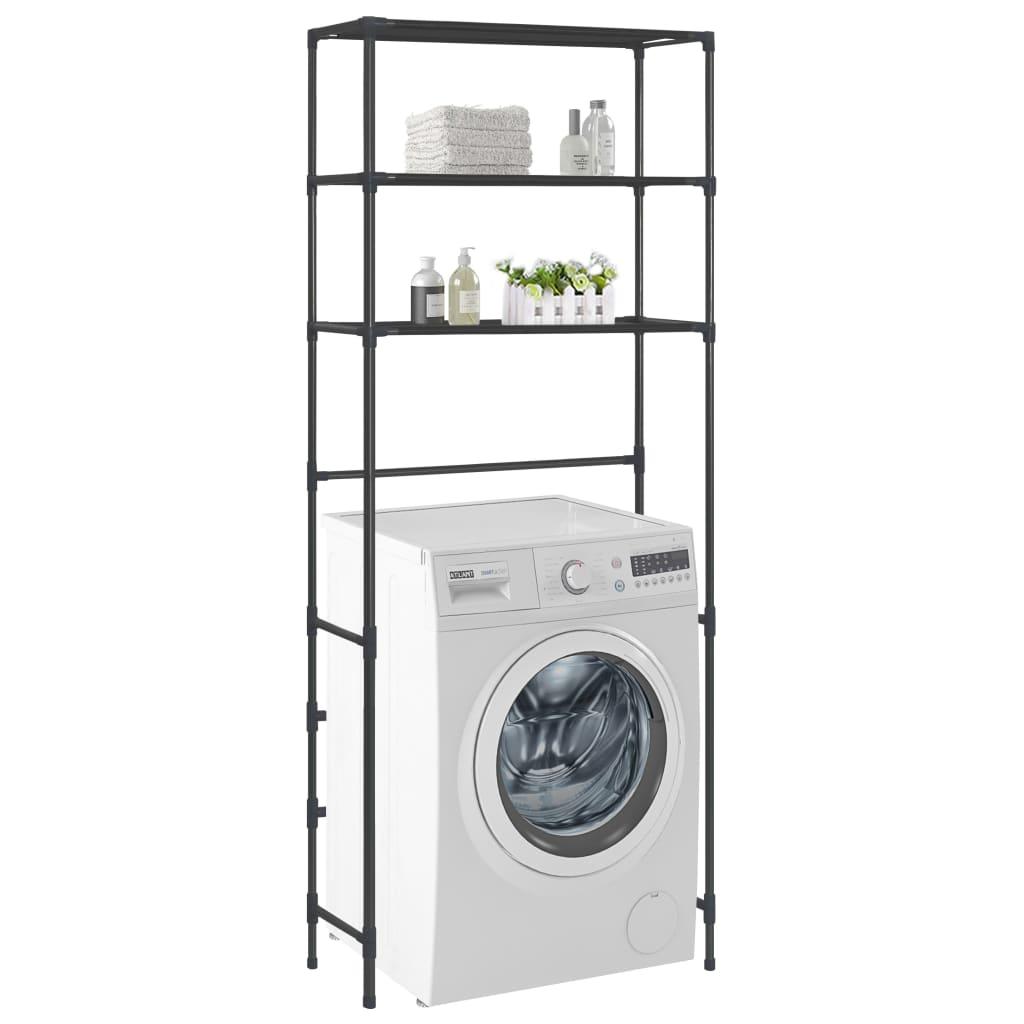 Hylla för tvättmaskin med 3 hyllplan svart 69x28x169 cm