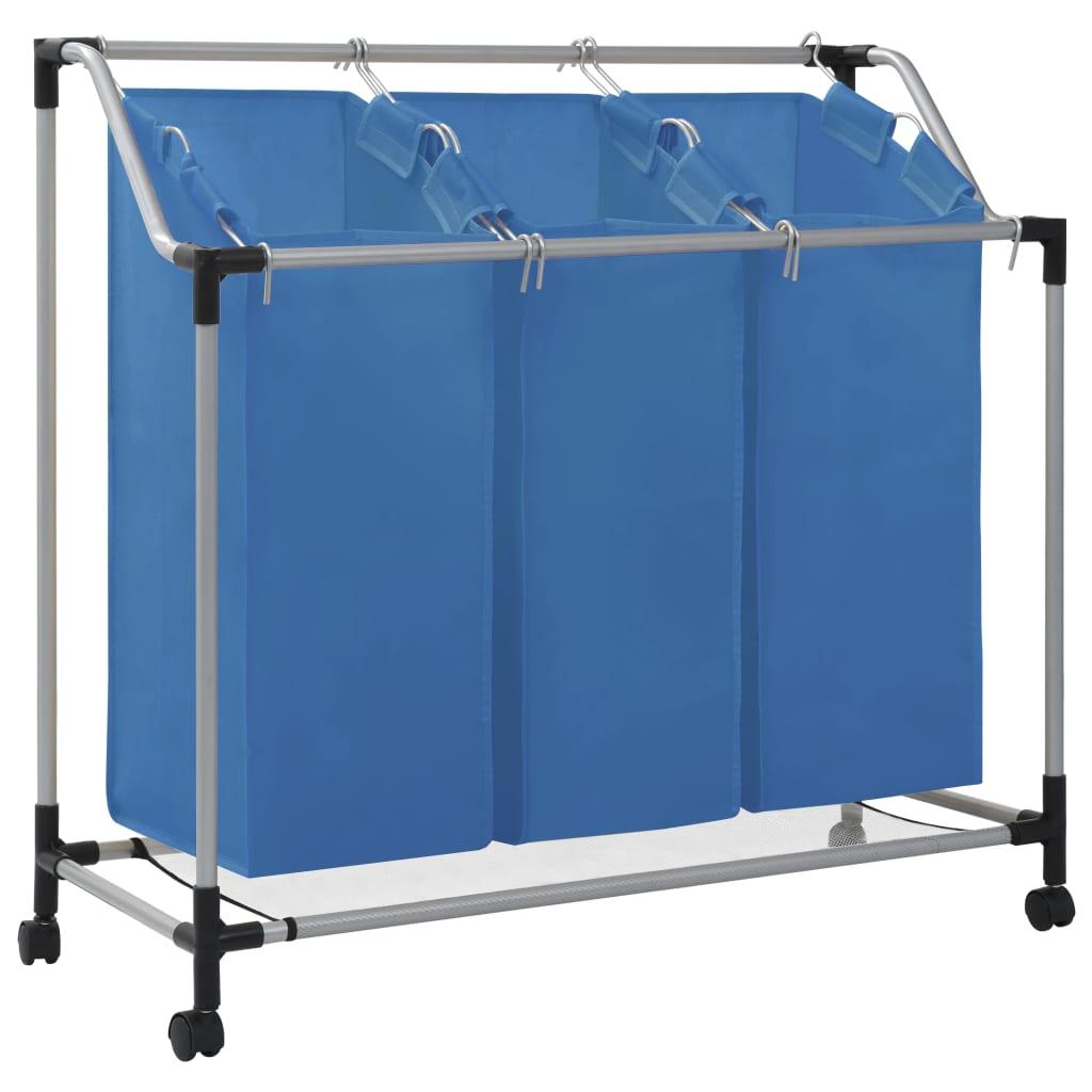 Tvättsorterare med 3 påsar blå stål