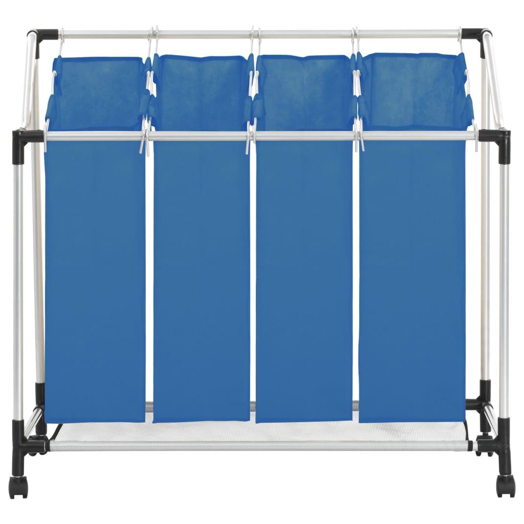 Tvättsorterare med 4 påsar blå stål