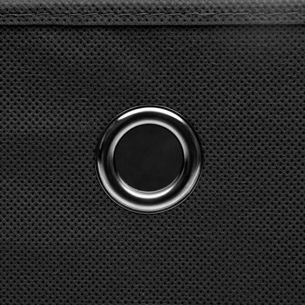 Förvaringslådor med lock 10 st svart 32x32x32 cm tyg