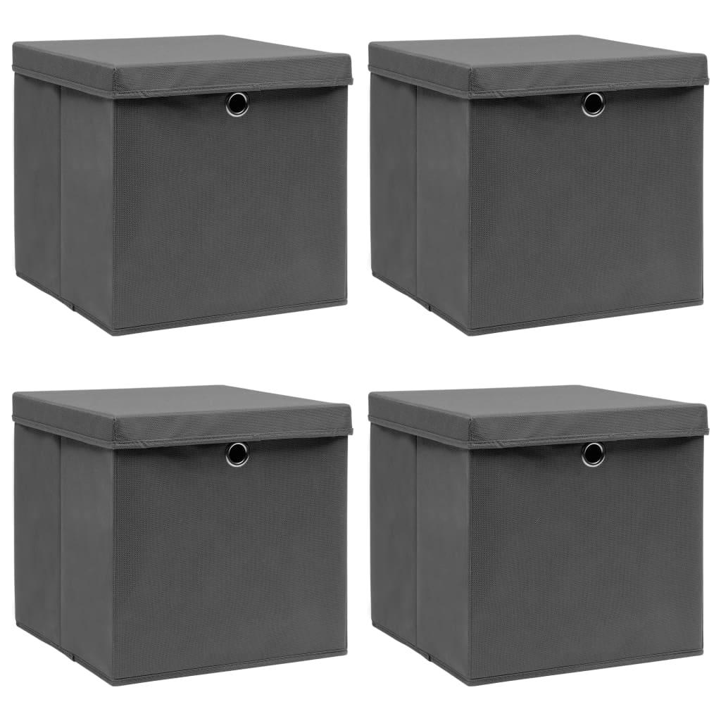 Förvaringslådor med lock 4 st grå 32x32x32 cm tyg