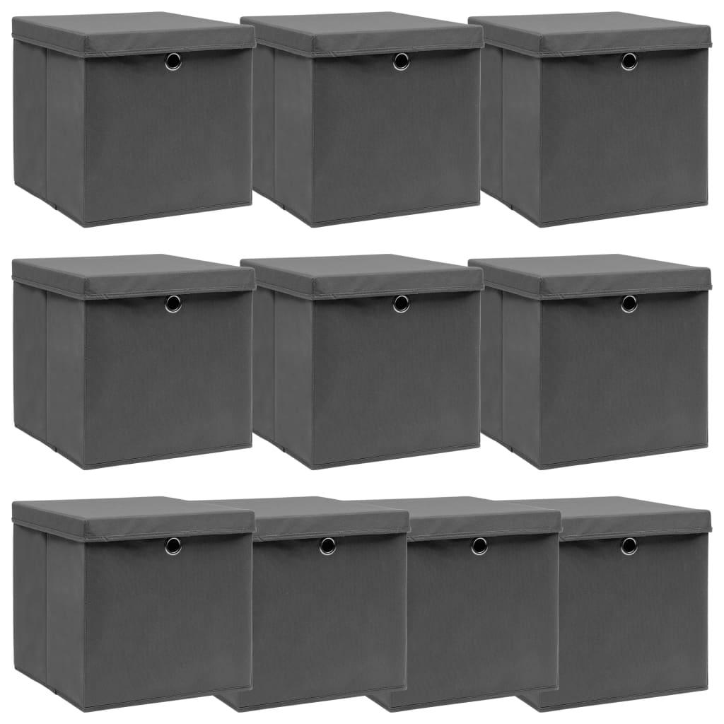 Förvaringslådor med lock 10 st grå 32x32x32 cm tyg