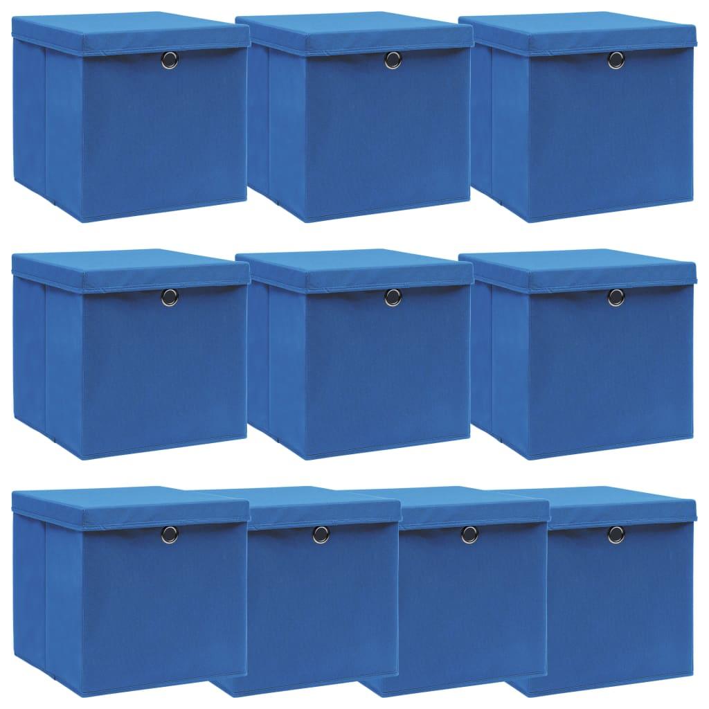 Förvaringslådor med lock 10 st blå 32x32x32 cm tyg