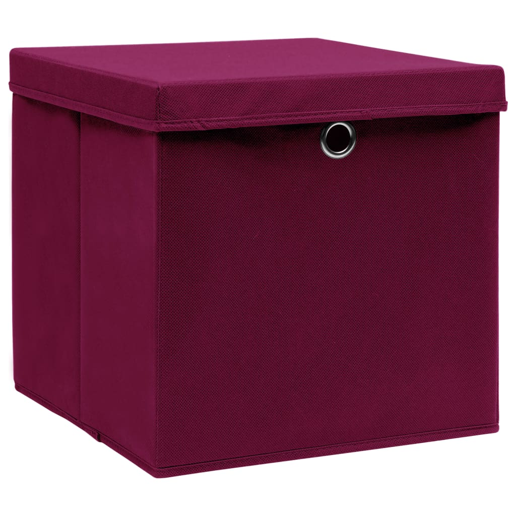 Förvaringslådor med lock 10 st mörkröd 32x32x32 cm tyg
