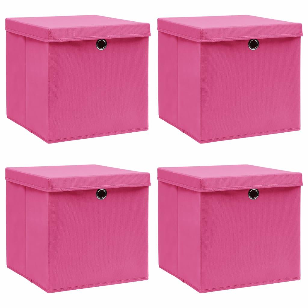 Förvaringslådor med lock 4 st rosa 32x32x32 cm tyg