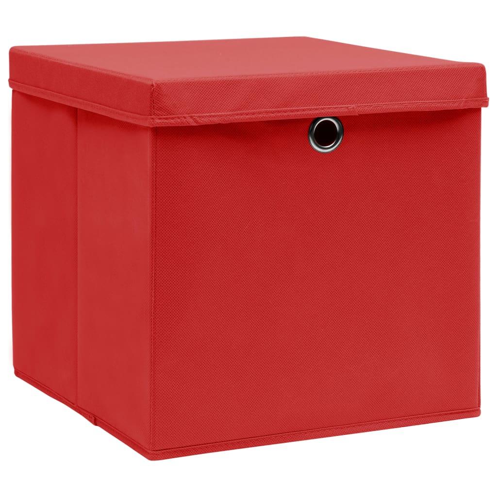 Förvaringslådor med lock 10 st röd 32x32x32 cm tyg
