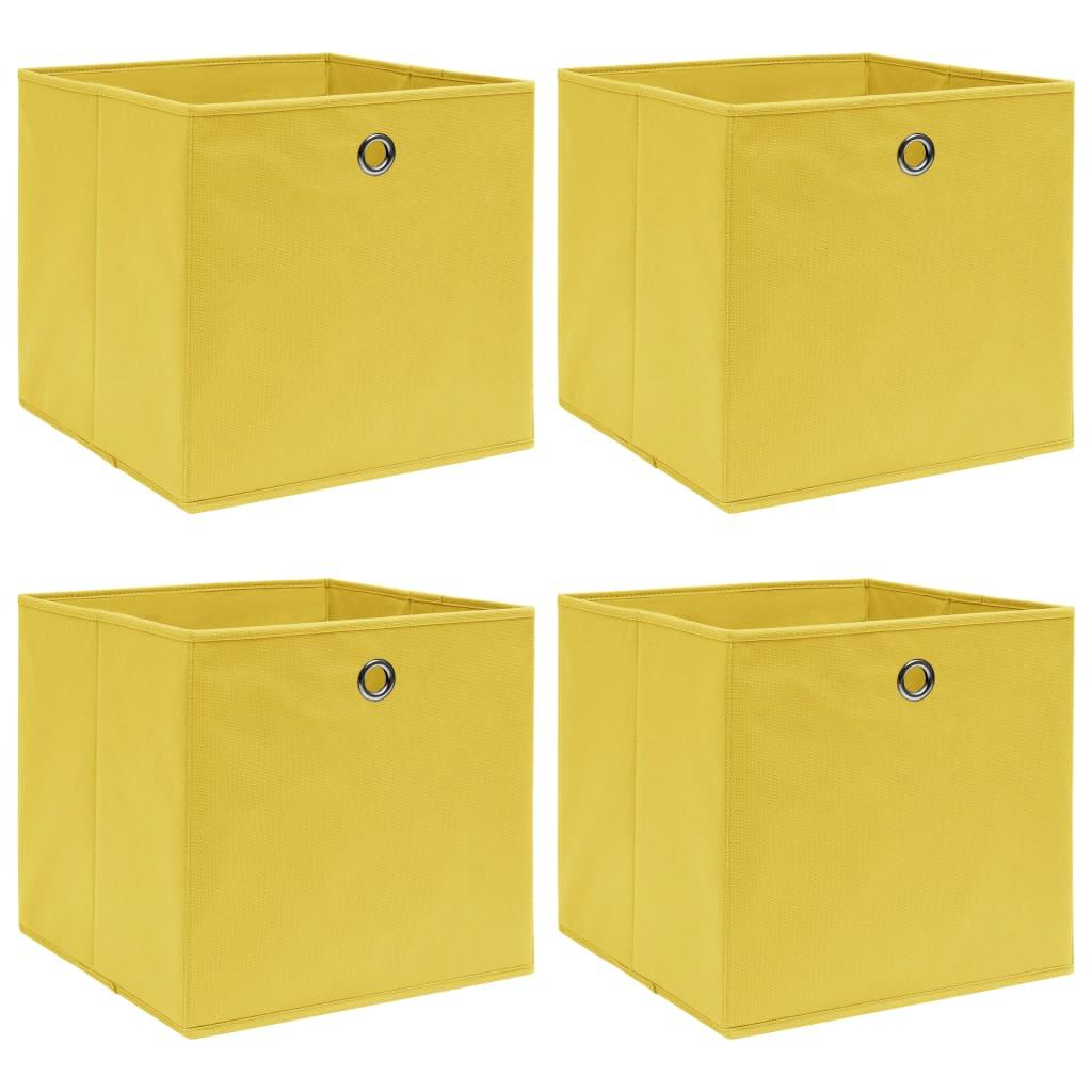 Förvaringslådor 4 st gul 32x32x32 cm tyg