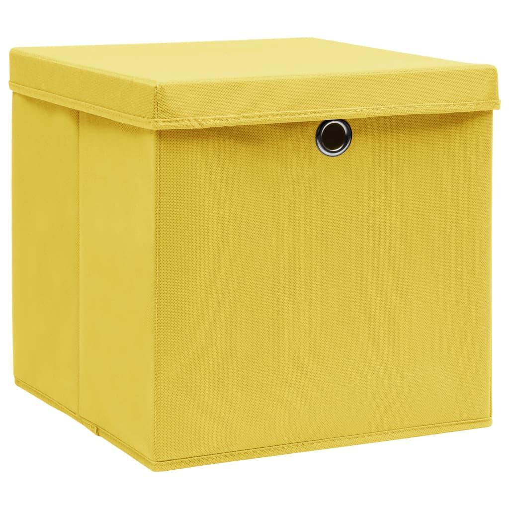 Förvaringslådor med lock 4 st gul 32x32x32 cm tyg
