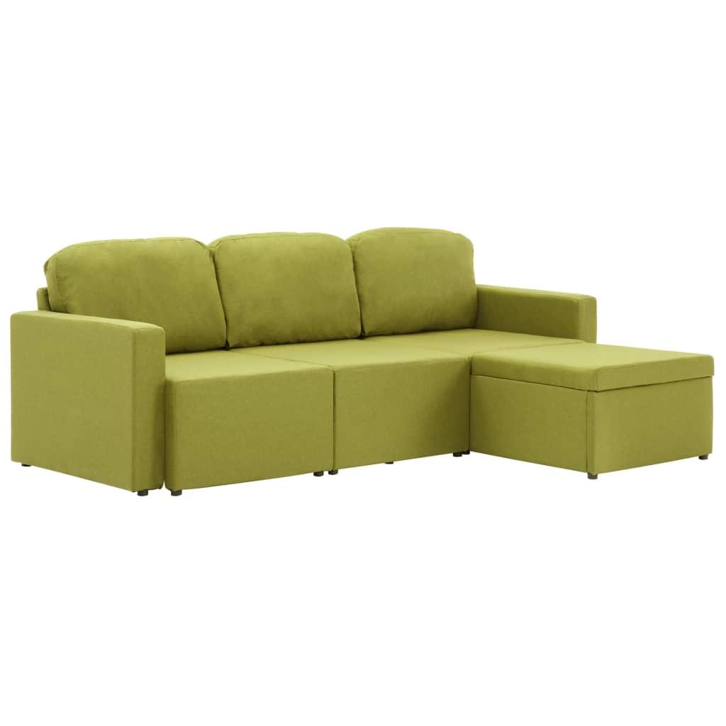 Bäddsoffa modulär 3-sits grön tyg