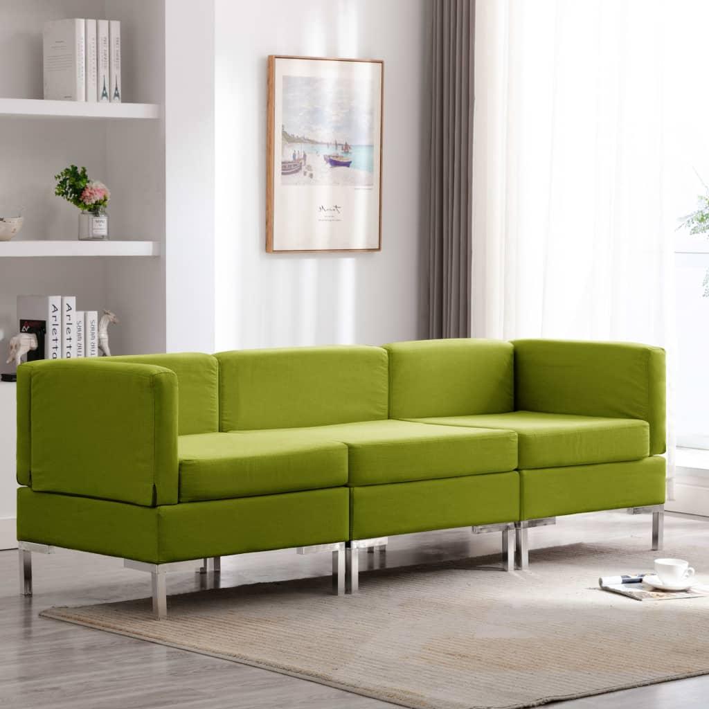 Soffgrupp tyg 3 delar grön