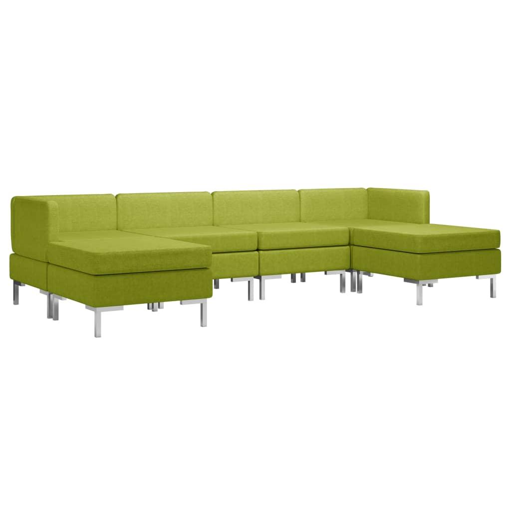 Soffgrupp tyg 6 delar grön