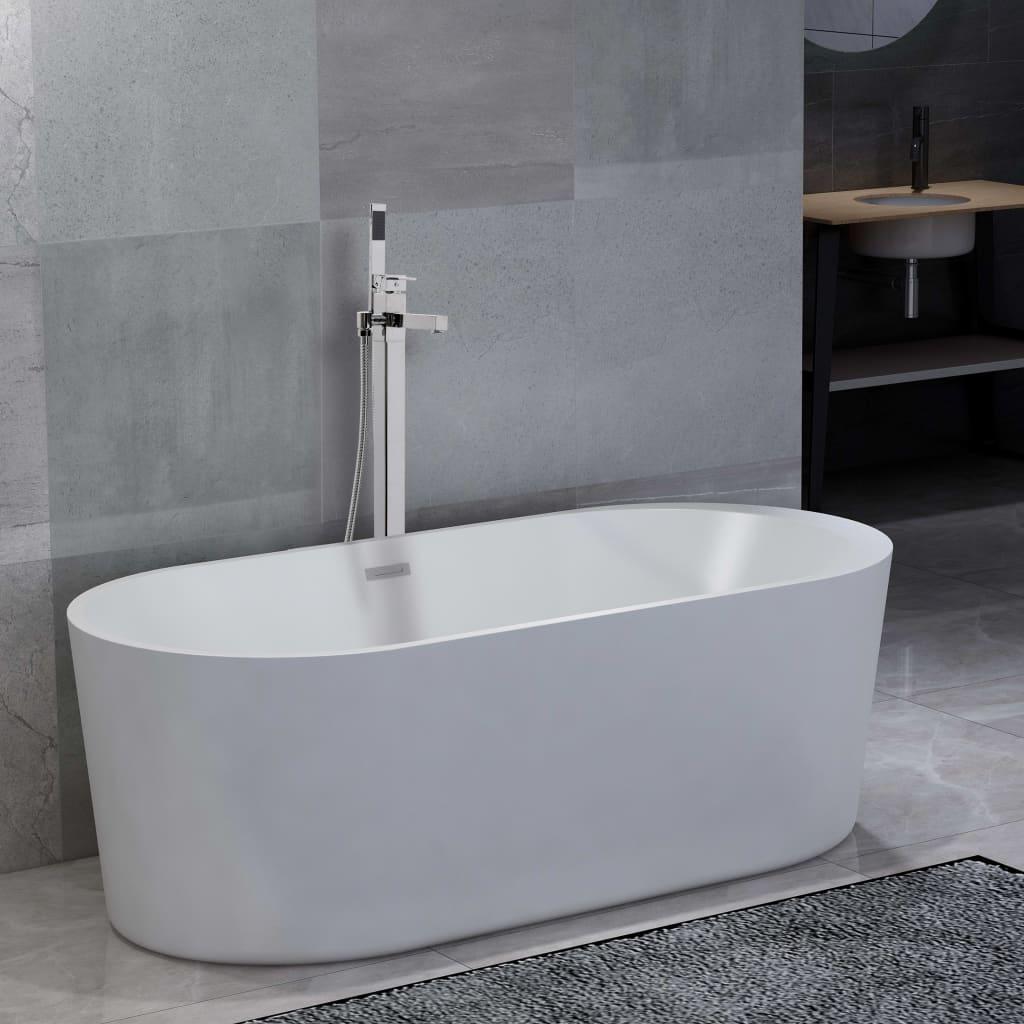 Fristående badkar och blandare 204 L 110 cm silver