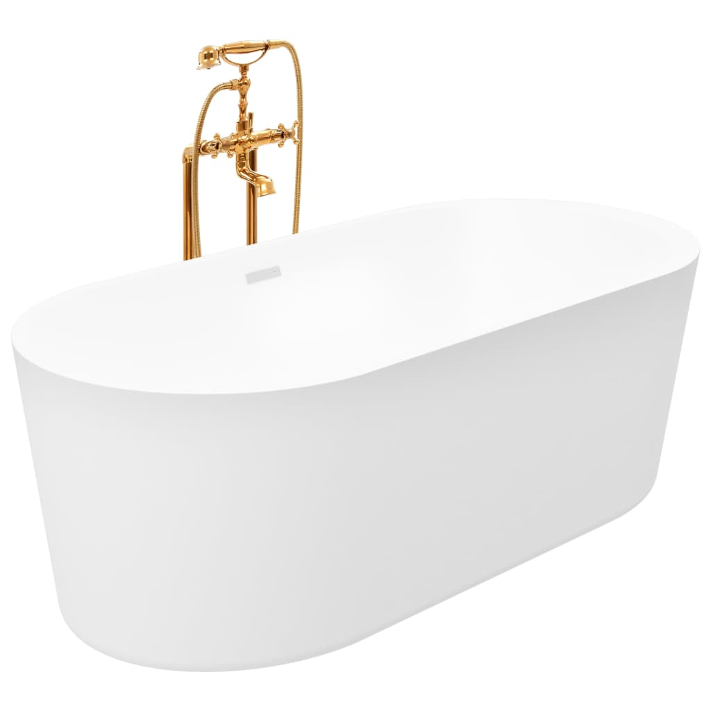 Fristående badkar och blandare 204 L 99,5 cm guld