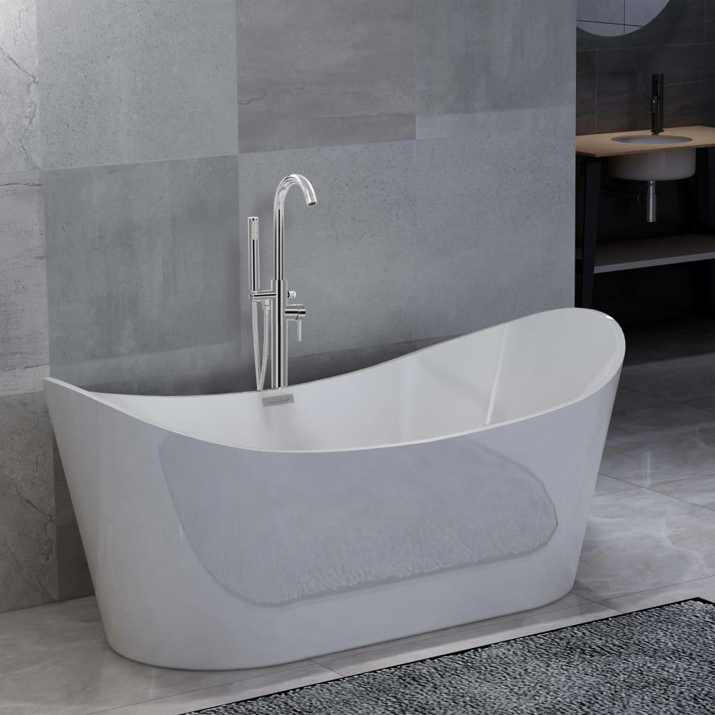Fristående badkar och blandare 204 L 118,5 cm silver