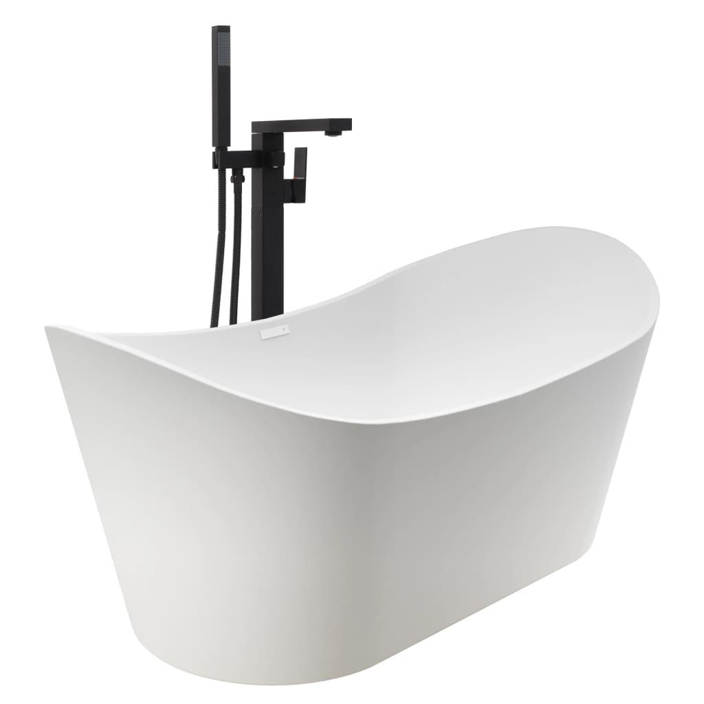 Fristående badkar och blandare 204 L 90 cm svart