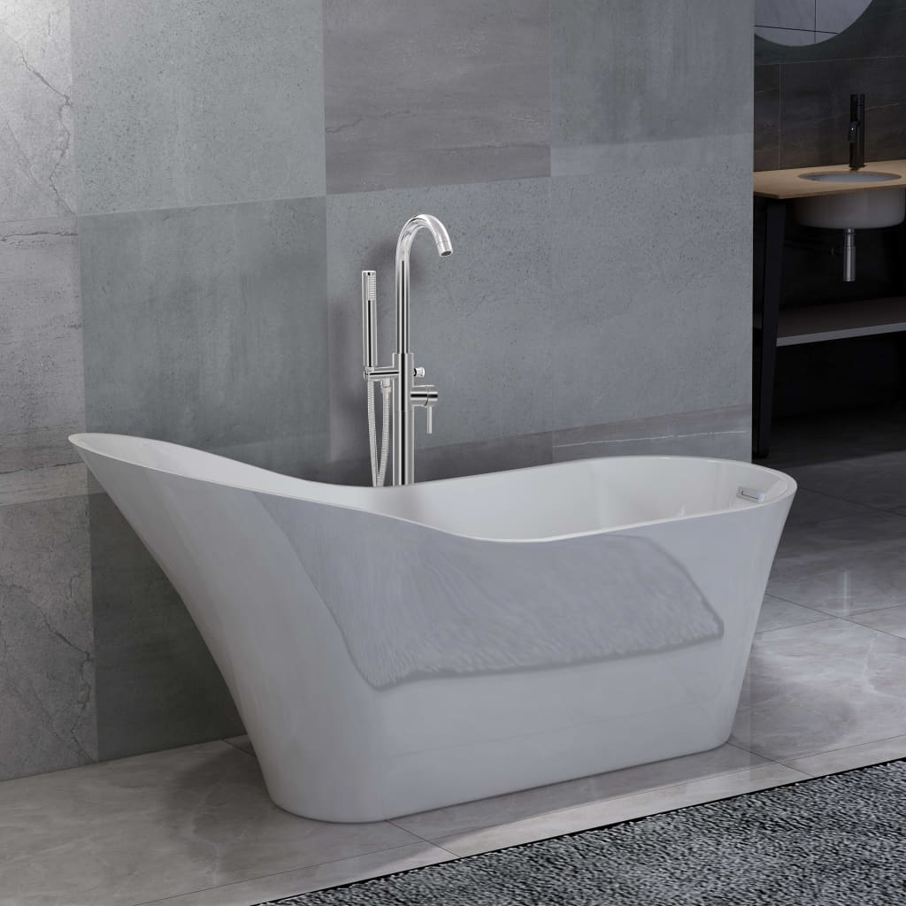 Fristående badkar och blandare 210 L 118,5 cm silver