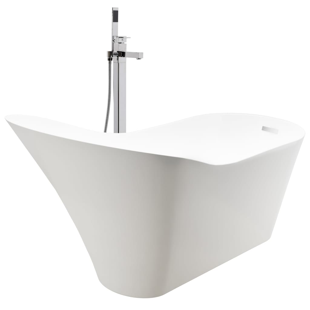 Fristående badkar och blandare 210 L 110 cm silver