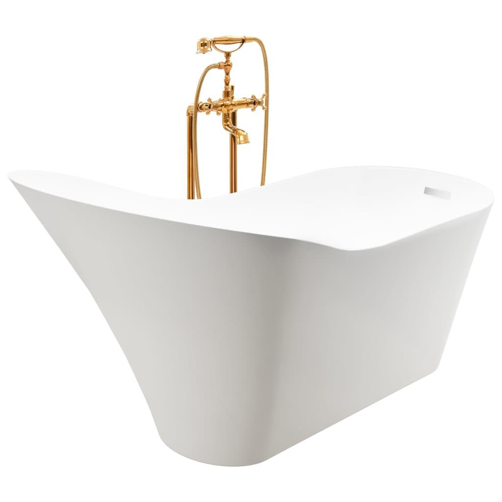 Fristående badkar och blandare 210 L 99,5 cm guld