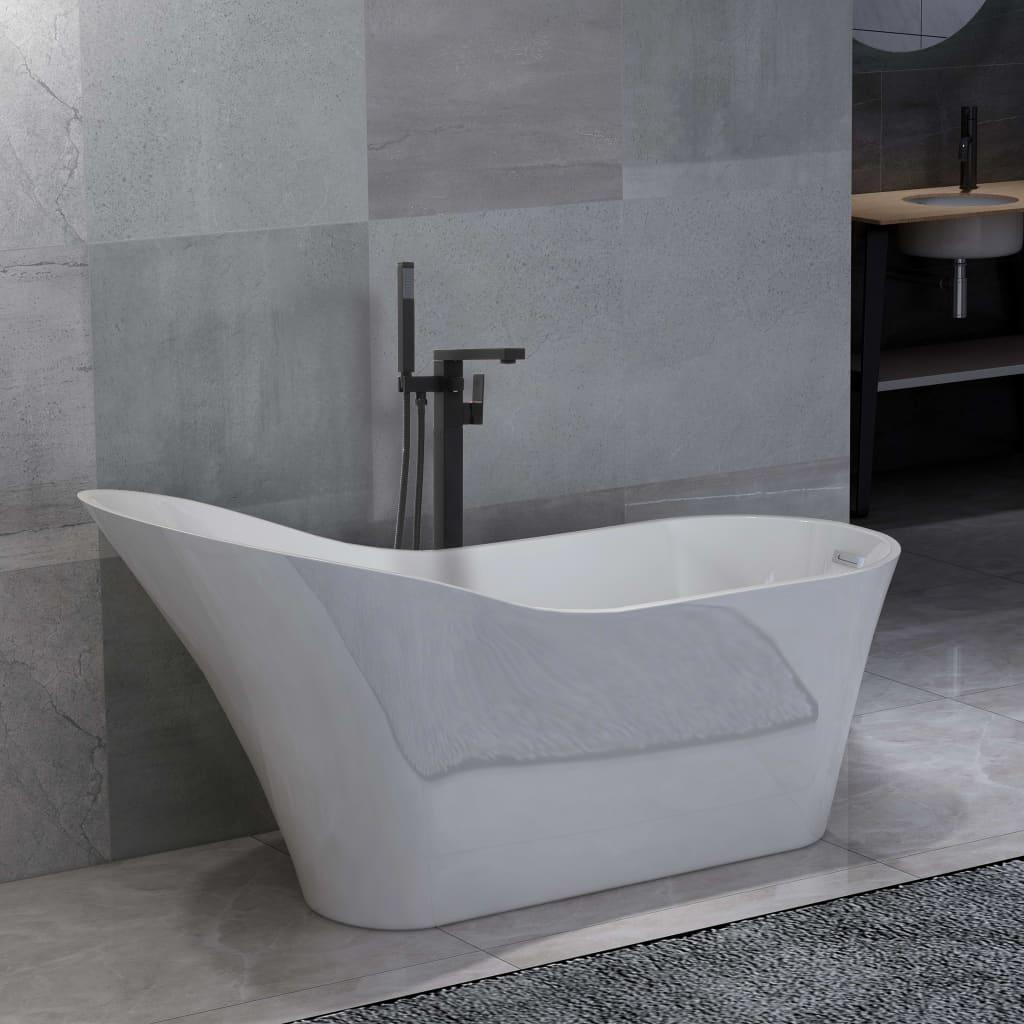 Fristående badkar och blandare 210 L 90 cm svart