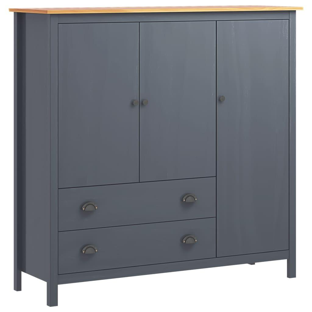 Garderob 3 dörrar Hill Range grå 142x45x137 cm massiv furu