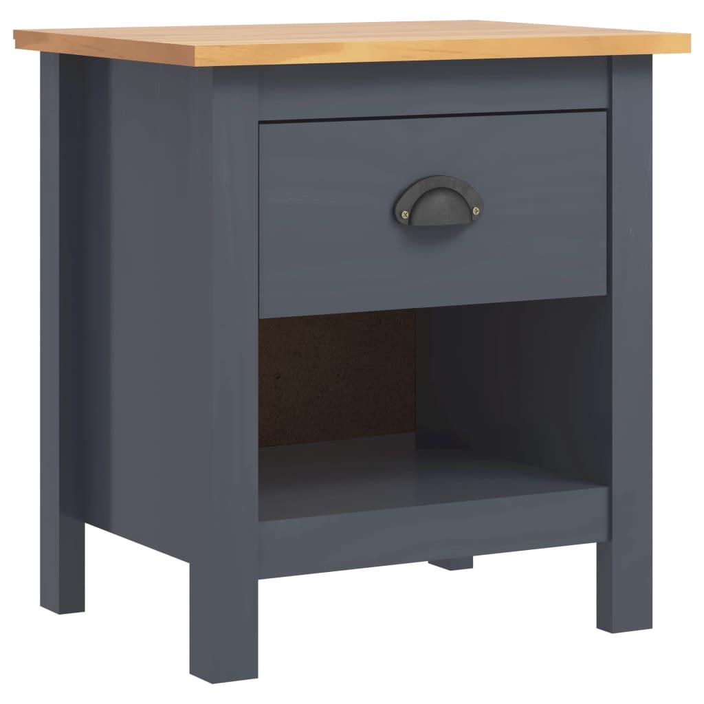 Sängbord Hill Range grå 46x35x49,5 cm massiv furu