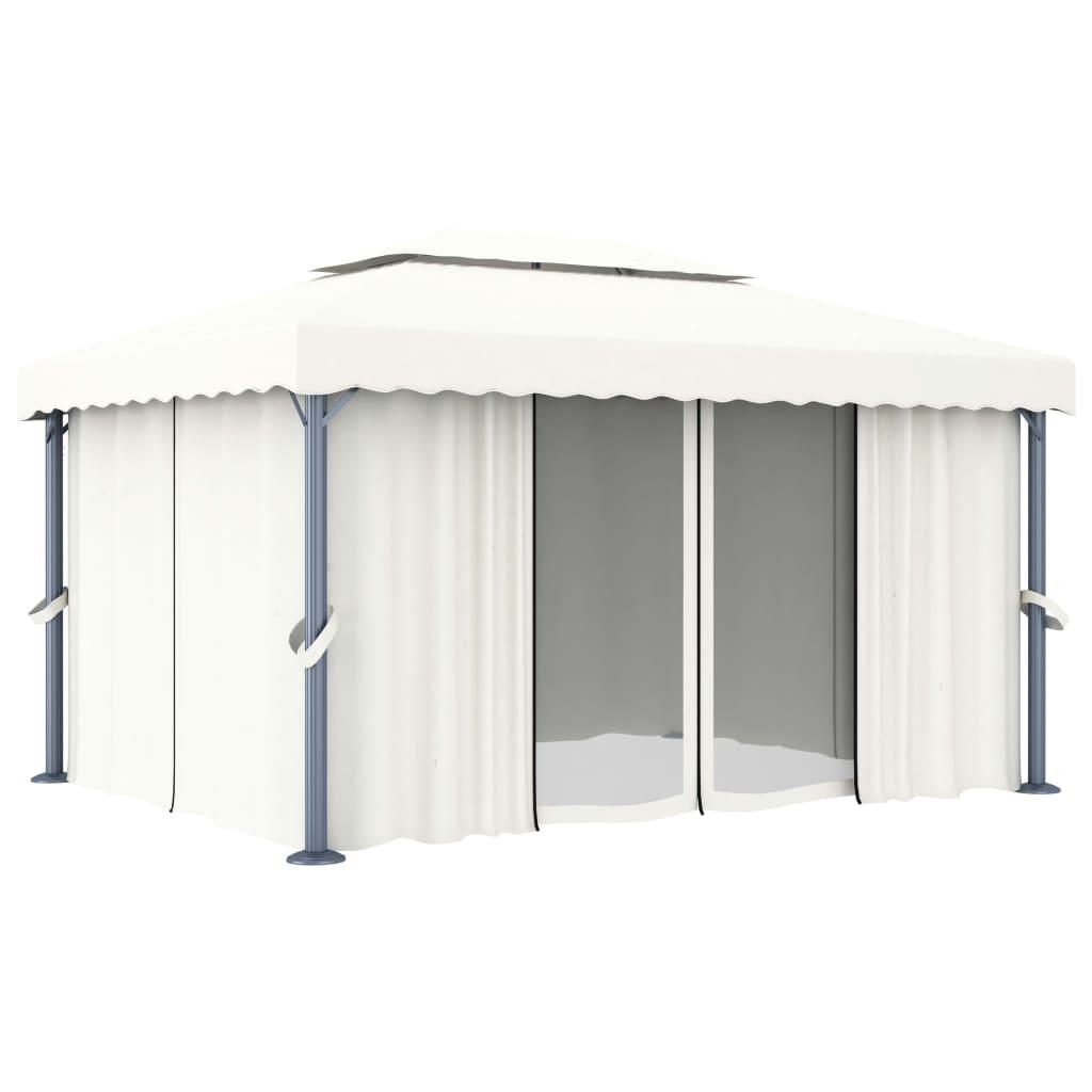 Paviljong med draperi 4x3 m gräddvit aluminium