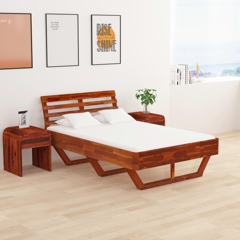 Sängram massivt akaciaträ 120x200 cm