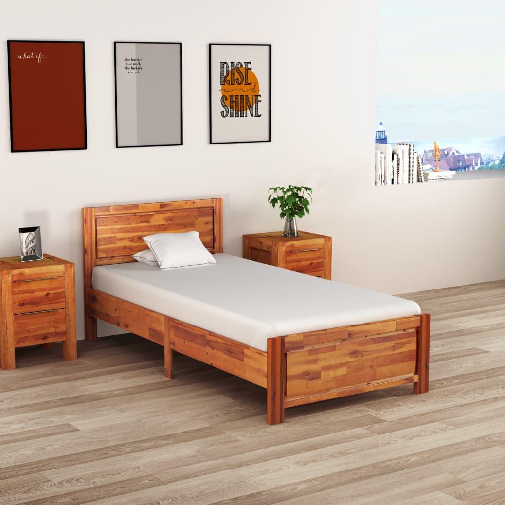 Sängram massivt akaciaträ 90x200 cm