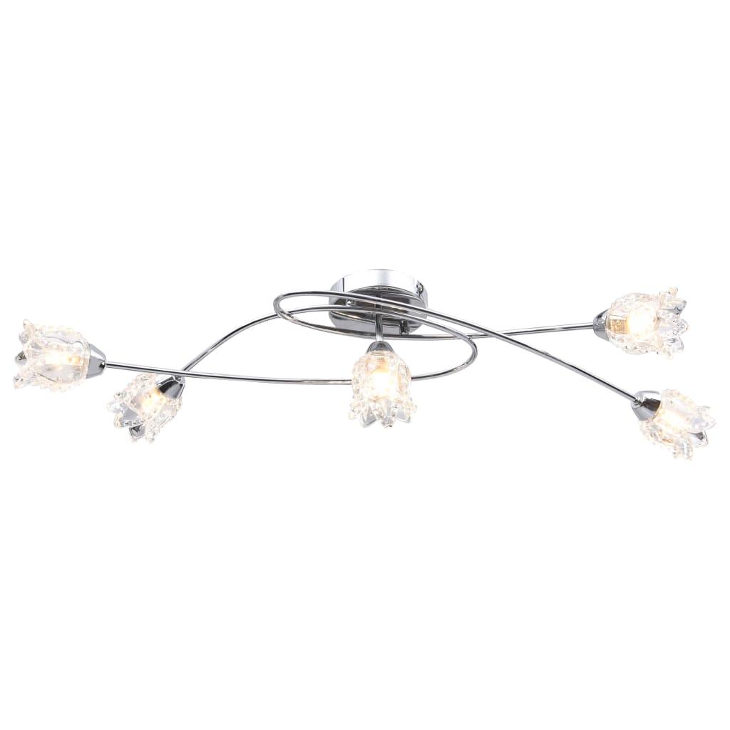 Taklampa med glasskärmar för 5 G9-lampor blommor