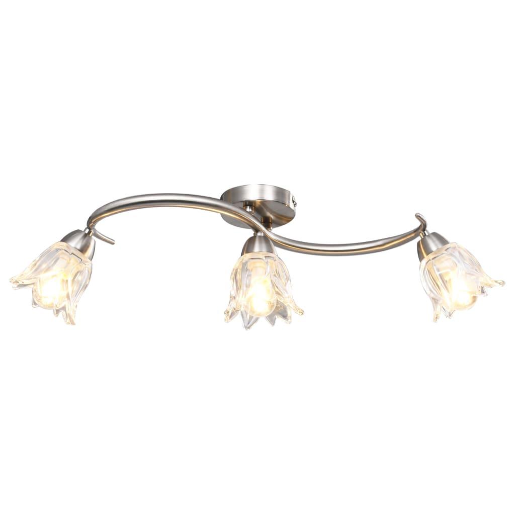 Taklampa med transparenta glasskärmar för 3 E14-lampor tulpan